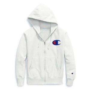 CHAMPIOn: White Zip-Up Hoodie
